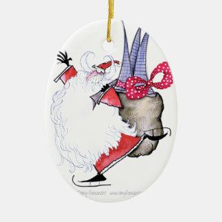 Joyeuses Fêtes de ShardArt par Fernandes élégant Ornement Ovale En Céramique