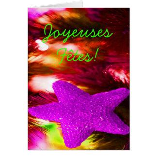 Joyeuses Fêtes et étoile pourpre d'année de bonne Carte De Vœux