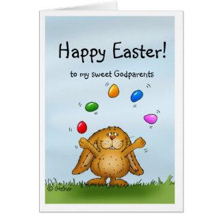 Joyeuses Pâques à mes parrains - lapin de Carte De Vœux