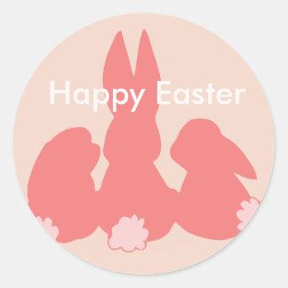 Joyeuses Pâques - autocollant rond de corail de