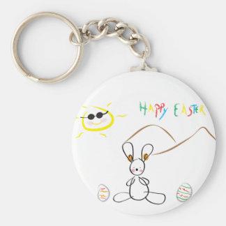 Joyeuses Pâques badinent le dessin Porte-clé Rond