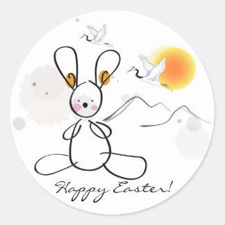 Joyeuses Pâques badinent le poignet Sticker Rond