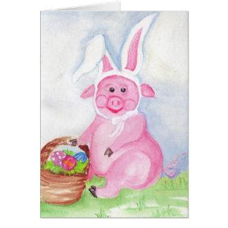 Joyeuses Pâques de la carte de porc de Pâques