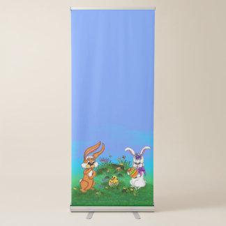 Joyeuses Pâques ! Lapin avec le lapin et poussin Banderole Rétractable