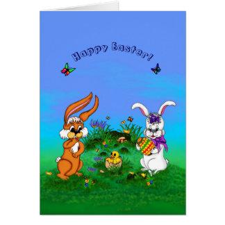 Joyeuses Pâques ! Lapin avec le lapin et poussin Carte De Vœux