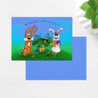 Joyeuses Pâques ! Lapin avec le lapin et poussin Cartes De Visite