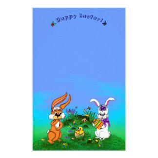 Joyeuses Pâques ! Lapin avec le lapin et poussin Papier À Lettre Personnalisable