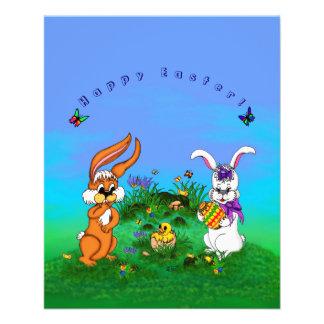Joyeuses Pâques ! Lapin avec le lapin et poussin Prospectus 11,4 Cm X 14,2 Cm