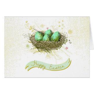 Joyeuses Pâques ! - Nid d'oiseaux avec les oeufs Carte De Vœux