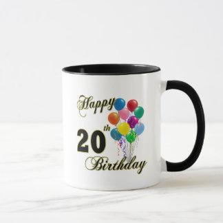 Joyeux 20ème anniversaire avec des ballons mugs
