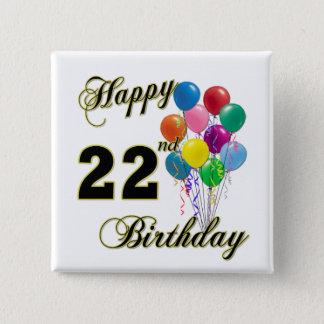 Joyeux 22ème anniversaire avec des ballons pin's