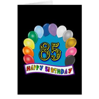Joyeux 85th anniversaire avec des ballons cartes