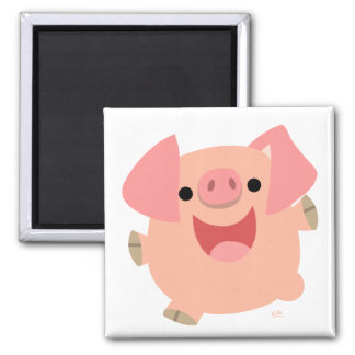 Joyeux aimant de porc de bande dessinée