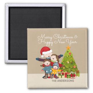 Joyeux aimant personnalisé de Noël | de famille