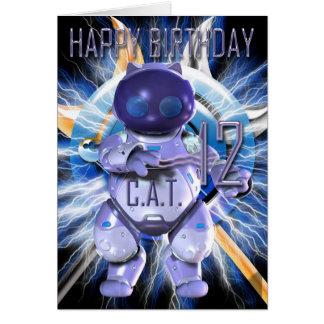 Joyeux anniversaire 12ème, chat de robot, techno carte de vœux