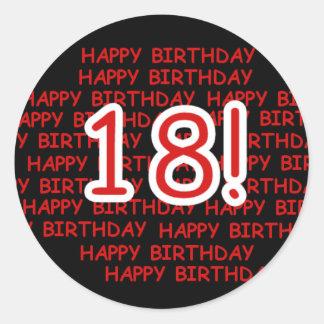 Joyeux anniversaire 18 sticker rond