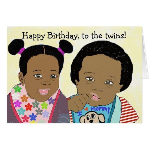 Joyeux anniversaire, à la carte de jumeaux