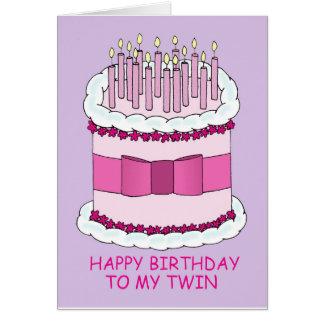 Joyeux anniversaire à mon gâteau jumeau et grand carte
