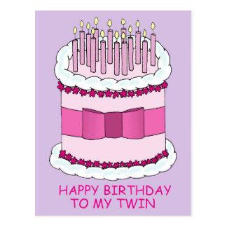 Joyeux anniversaire à mon gâteau jumeau et grand carte postale