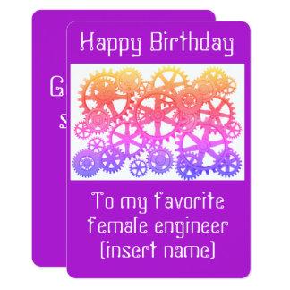 Joyeux anniversaire à mon ingénieur féminin carton d'invitation  12,7 cm x 17,78 cm