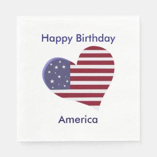Joyeux anniversaire Amérique, coeur blanc et bleu Serviette En Papier