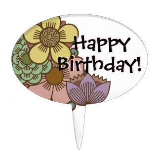 Joyeux anniversaire avec des fleurs - gâteau piques à gâteaux