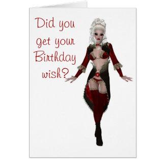 Joyeux anniversaire avec la femme blonde dans la l carte de vœux