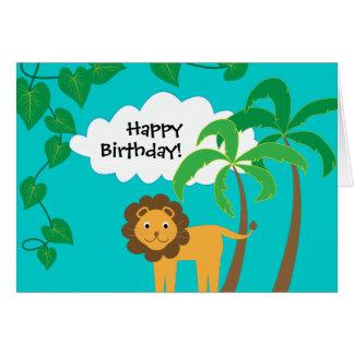 Joyeux anniversaire avec le lion mignon dans la carte de vœux