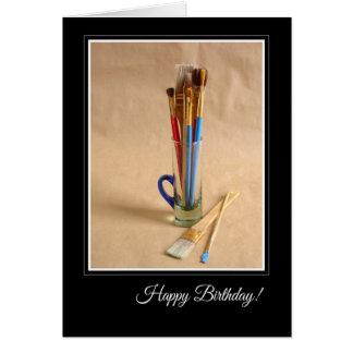 Joyeux anniversaire avec les pinceaux de l'artiste carte de vœux