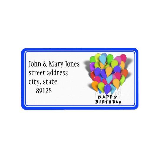 Joyeux anniversaire - ballons de partie étiquette d'adresse
