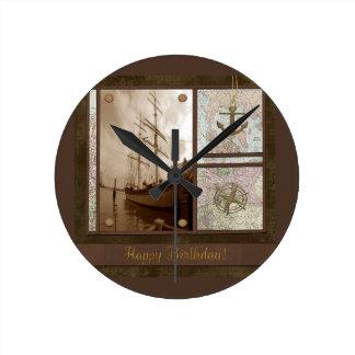 Joyeux anniversaire, bateaux grands, ancre, horloge ronde