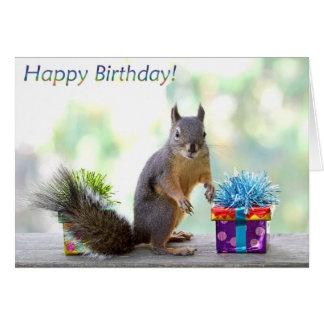 Joyeux anniversaire d écureuil cartes de vœux