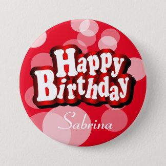 Joyeux anniversaire dans Bokeh rouge Badges