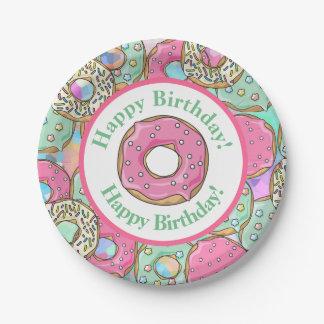 Joyeux anniversaire de butées toriques en pastel assiettes en papier