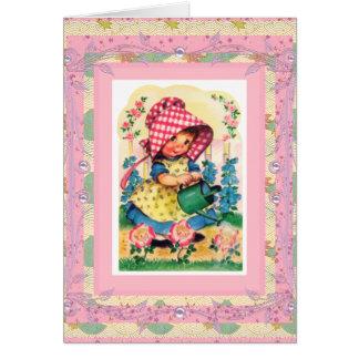 Joyeux anniversaire de carte vintage à la petite