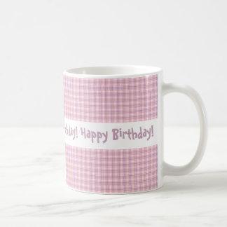 Joyeux anniversaire de conception rose et pourpre mug