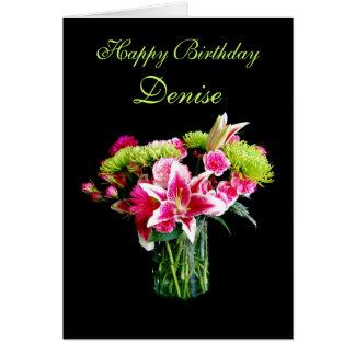 Joyeux anniversaire de Denise, bouquet de lis Carte De Vœux