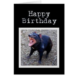 Joyeux anniversaire de diable tasmanien carte de vœux