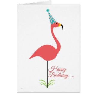 Joyeux anniversaire de flamant rose de pelouse à carte de vœux