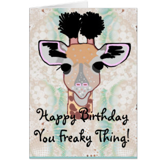 Joyeux anniversaire de girafe bizarre carte de vœux