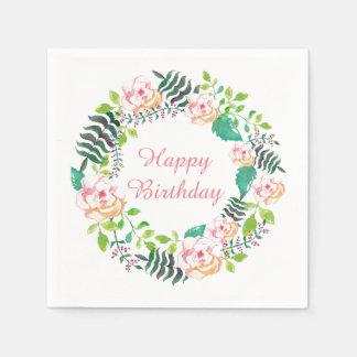 Joyeux anniversaire de guirlande florale rose de serviettes en papier