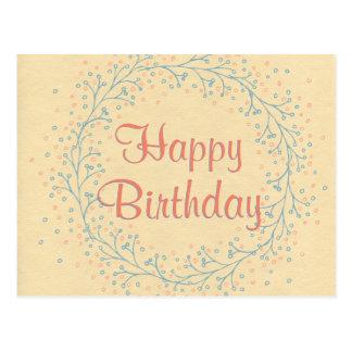 Joyeux anniversaire de guirlande florale rustique carte postale