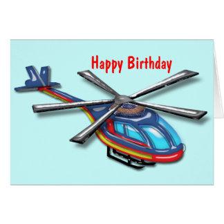 Joyeux anniversaire de haut hélicoptère de vol carte de vœux