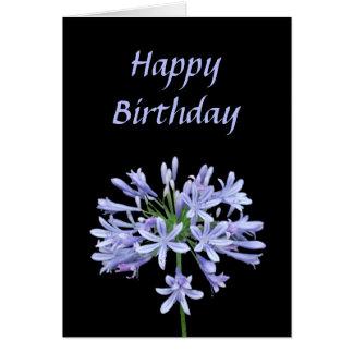 Joyeux anniversaire de noir bleu d'Agapanthus Carte De Vœux