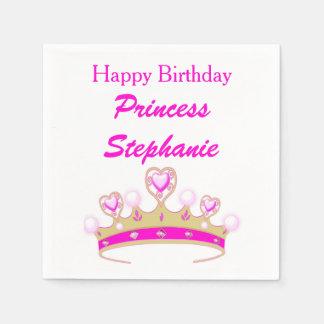 Joyeux anniversaire de princesse Tiara Crown Pink Serviette Jetable