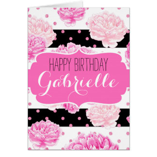 Joyeux anniversaire de rayures d'aquarelle florale cartes