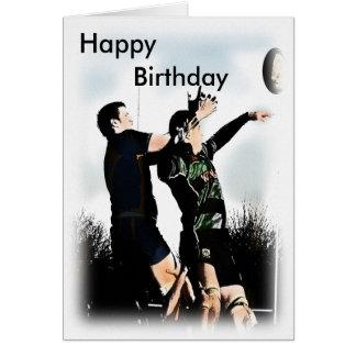 Joyeux anniversaire de rugby carte de vœux