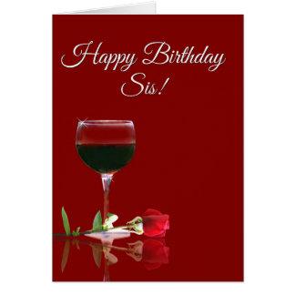 Joyeux anniversaire de vin à la carte de soeur