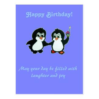 Joyeux anniversaire des pingouins carte postale