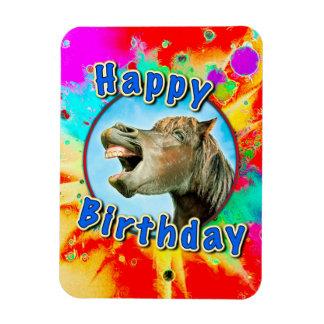 Joyeux anniversaire du cheval riant magnet flexible